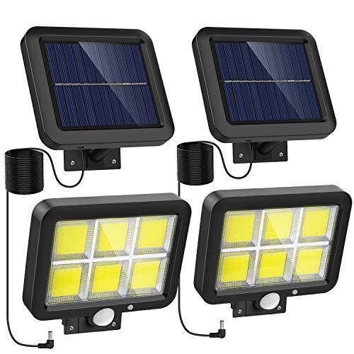 Nacinic Solarlampen für Außen mit Bewegungsmelder, 120 COB LED Strahler Aussen,Superhelle Solarleuchte 3 Modi IP65 Wasserdichte,Wandleuchte mit 16.5ft 5M Kabel, 2 Stück