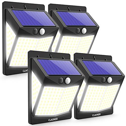 Claoner Solarlampen für Außen, [4 Stück] 140 LED Solarleuchten Aussen mit Bewegungsmelder, 270° Superhelle Solar Aussenleuchte [2000mAh] 3 Modi IP65 Wasserdichte Wandleuchte für Garage Garten Hof