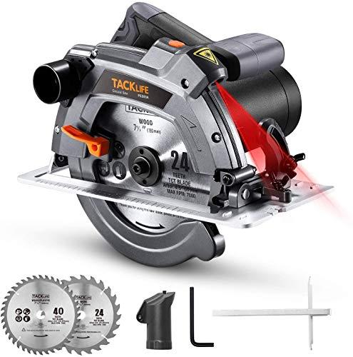 Handkreissäge, TACKLIFE Kreissäge 1500W 5000RPM mit Laser, Max. Schnitttiefe 65mm (90º), 2 Blättern...