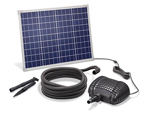 Solar Bachlaufset 50W Solarmodul 2500 l/h Förderleistung 2m Förderhöhe inkl. 5m Schlauch 25mm Bachlaufpumpe...