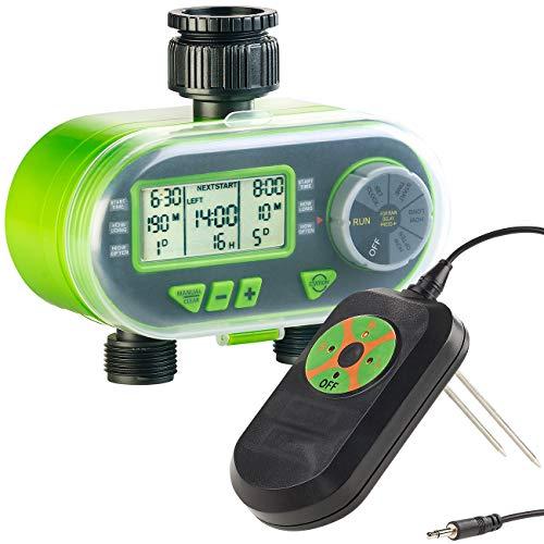 Royal Gardineer Feuchtigkeitssensor: Set aus Bewässerungscomputer und Regen & Boden-Feuchtigkeitsmesser (Bodenfeuchtesensor)