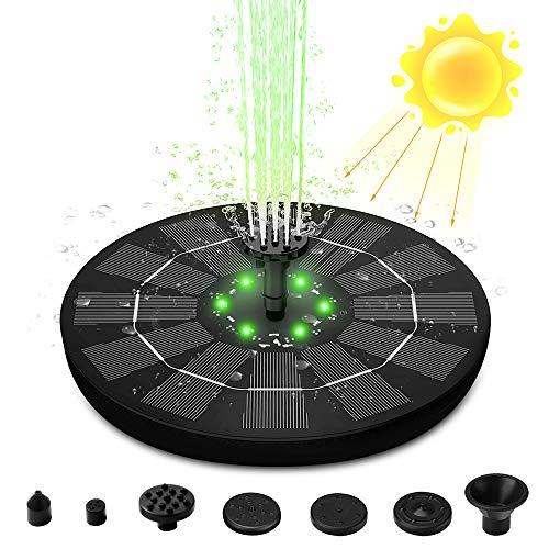 Solarbrunnen, ChenXi Global Solar Springbrunnen Licht mit 6 Sprühen Stabil und Längere Arbeitszeit, Vogeltränke Brunnen mit 8 LED-Lichtern für Vogelbad, Garten, Teich, Pool, Outdoor (C)