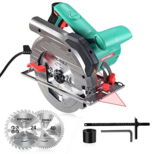 Kreissäge, HYCHIKA Handkreissäge 1500W 4700RPM, Max. Schnitttiefe: 90°: 65mm/45°: 45mm mit 2...