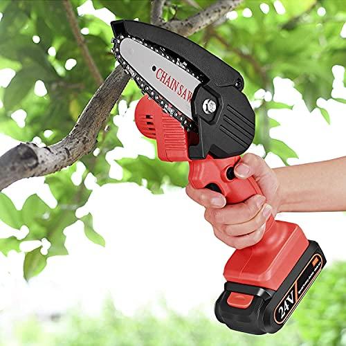 Kacsoo Mini Kettensäge 4 Zoll Akku Tragbare Elektrische Handsäge 24 V für Holzfäller Handschneider Akku...