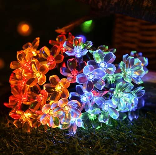 Niceen Solar-Gartenlichter, 6,5 m, 30 LEDs, 8 Modi, wasserdicht, Solar-Lichterkette für Party, Hochzeit, Terrasse, Weihnachtsdekoration (bunt)