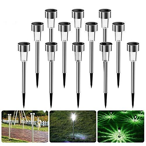 Nasharia Solarleuchten Garten, 12 Stück Solar Gartenleuchte IP65 wasserdichte, Solarlampen für Garten...