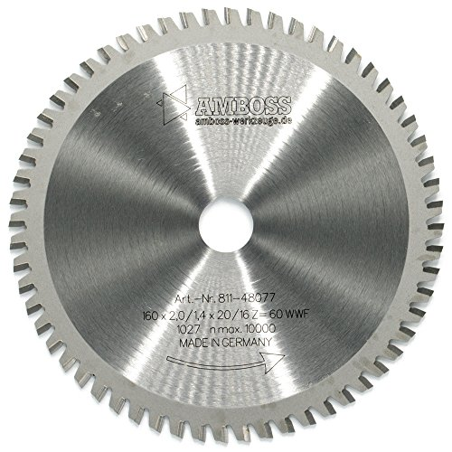 AMBOSS Werkzeuge Kreissägeblatt aus hochwertigem Hartmetall -160 mm x 20/16 mm (60 Zähne) - Geeignet für...