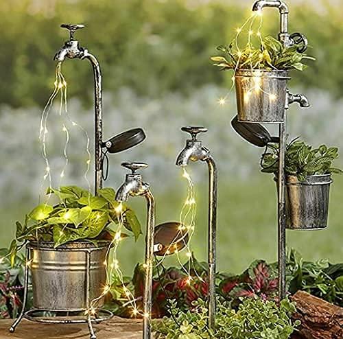 Wasserfall Garten licht, Aimiyaelec Solarlampen für Außen Solar Wasserhahn Blumentopf Lampe Wasserfall Blumentopf Lampe Wasserhahn Märchenlampe im Freien led licht