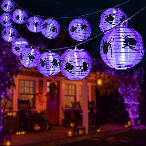 Qedertek Halloween Deko, 4M 20 LED Lila Spinne Lampion Lichterkette mit Batteriebetrieben, 2 Modi Wasserdicht Halloween Lichterkette für Außen Innen, Garten, Allerheiligen, Halloween Party Dekorations
