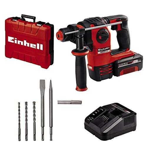 Einhell Akku-Bohrhammer HEROCCO Kit + 5 Power X-Change (Li-Ion, 18V, 2.2 Joule, 18 Nm, Brushless, pneumatisches Schlagwerk, SDS+, inkl. E-Box, Bit-Adapter, 3 Bohrer, 2 Meißel, 3 Ah Akku und Ladegerät)