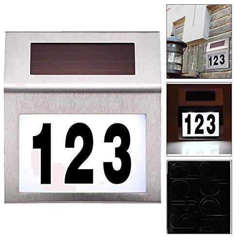 Alaskaprint Solar beleuchtete Hausnummer mit 2 LEDs Beleuchtung Hausnummernleuchte mit LED Leuchte beleuchtet...
