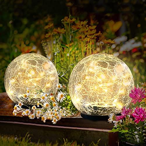 [2 Stück] Solar Bodenleuchte für Garten, OBOVO Solarlaterne für Außen 40 LEDs Warmweiß Gartenleuchte Wasserdicht Solarlampe für Rasen, Gehweg, Terrassen Deko