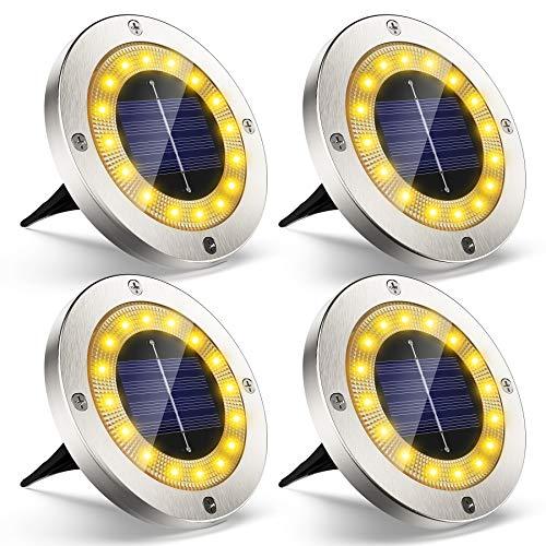 Solarleuchten für Außen Garten Deko, VIRIDI 4 Stück 16 LED Flache Solarlampen mit Warmweißen Licht Einbaustrahler Solar Bodenleuchten Wegeleuchten für Beleuchtung Aussen Boden Terrasse Balkongelaender