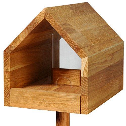Luxus-Vogelhaus Vogelfutterhaus 'Bauhaus' mit Futtersilo, Eiche - geölt, 46601e