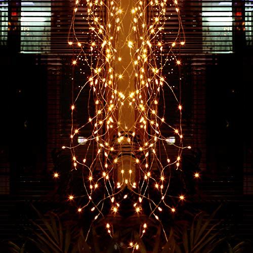Weihnachtsreben Lichterketten, Lauva Wasserdicht IP65 Outdoor 10 Stränge 100 LED Blinkende Sternenklare Wasserfall Twinkle Lichterketten mit Fernbedienung für Gartenhochzeitsbaum (Warmweiß)