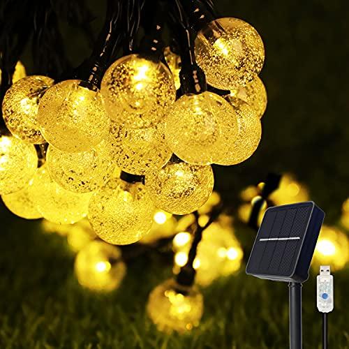 Solar lichterkette aussen, COOLAPA außen solar lichterkette, Lichterkette mit 50er LED Kristallkugeln 8 meter garten lichterkette außen für Zimmersdekorationen, Hochzeiten, Partys (Warmweiß)