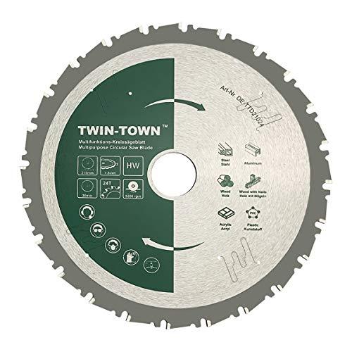 TWIN-TOWN HM Kreissägeblatt Multifunktions 210x30mm Z24, Ideal für Holz, Holz mit Nägeln, Stahl, Aluminium,...