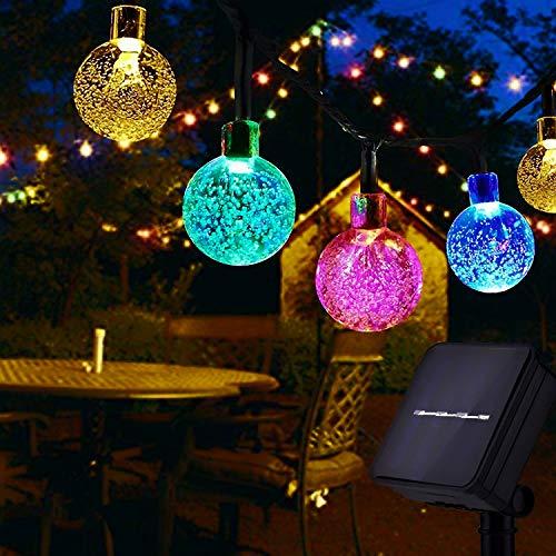 Usboo® Solar Lichterkette, 10 Meter 60 bunte LEDs für Innen & Außen mit Kristallkugeln, wasserdichten Kupferdrähten für Zimmersdekorationen, Feste, Garten, Balkons, Partys, Hochzeiten, Kinder usw.