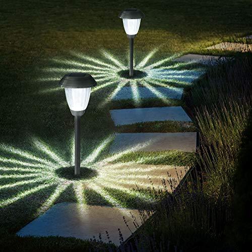 8 Stück Solarleuchte Garten Außen,OxyLED IP44 Wasserdicht Solar Gartenleuchte Wasserdicht Solarlampe für Garten Patio Rasen,Terrasse(Weiß)