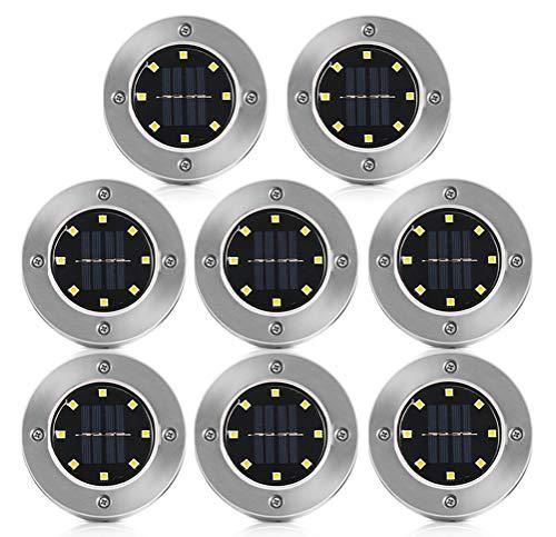 Solarleuchten Garten, 8 Stück Solar Bodenleuchten Aussen Solar Gartenleuchten Warmweiß Solarlampen IP65 Wasserdichte Bodenstrahler Licht Garten Landschaft Beleuchtung für Auffahrt Rasen