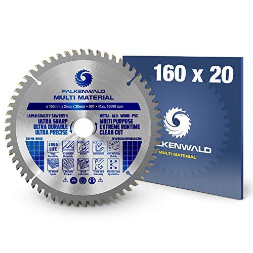 FALKENWALD ® Kreissägeblatt 160 x 20 mm - Ideal für Holz, Metall & Alu - Handkreissägeblatt kompatibel mit...