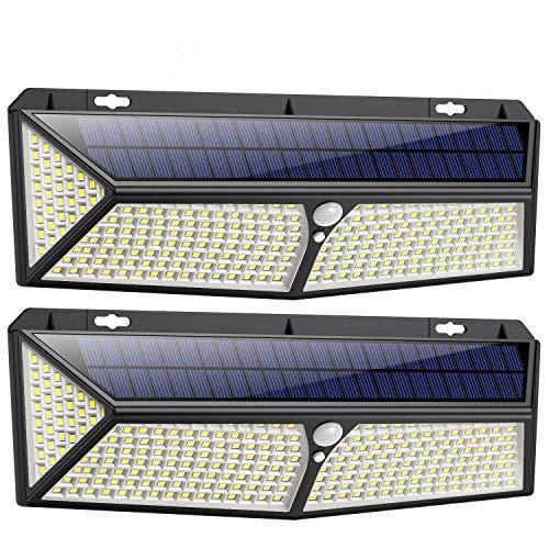 Solarlampen für Außen mit Bewegungsmelder,【288LED mit USB Wiederaufladbar 】Solarleuchten für Außen 2500 Lumen Solar Wasserdichte Wandleuchte Solar Aussenleuchte Solarlicht für Garten-2 Stück
