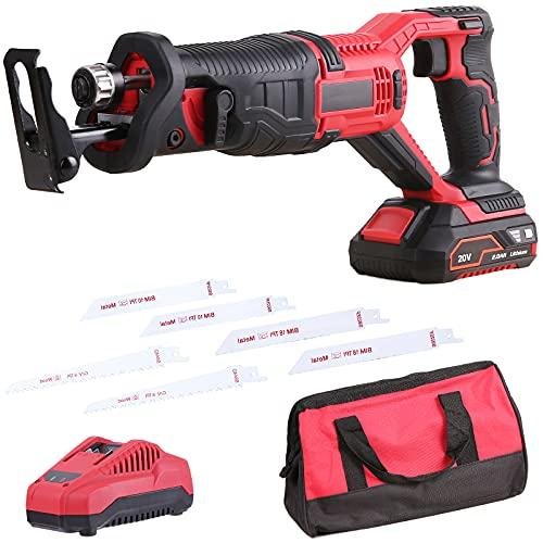 Säbelsäge, 20V Akku Säbelsäge mit 2,0Ah Batterien,0-3000SPM, Hublänge 22 mm, 6 Sägeblätter, zum Schneiden von Holz und Metall