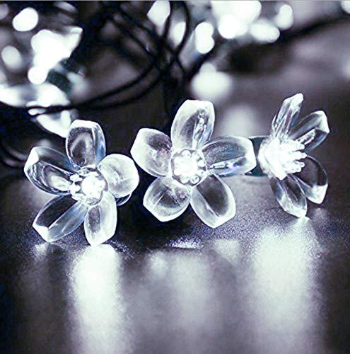 Weiße Solar LED Sakura Lichterketten Im Freien Wasserdichte Gartendekoration Pfirsichblumenlaterne Weihnachtsblumendekoration Licht 8 Funktion 100LED