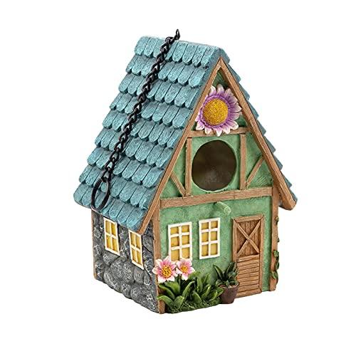 Vogelhaus Vogelfutterhaus Mit Ständer Wetterfest Zum Aufhängen Balkon Holz Futterhaus Wildvögel, Naturharzmaterialien Für Kleine Vögel Gartenornamente, Umweltschutz-15,5 X 13 X 21,4 Cm