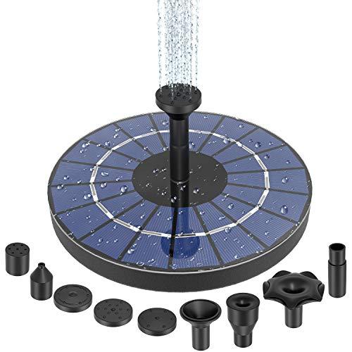 SUNGYIN Solar Springbrunnen mit 9 Fontänenstile, 3.5W Solar Teichpumpe mit Eingebaute Batterie und Solar Panel , Schwimmender Fontäne Pumpe für Garten Wasserspiel, Vogel Bad, Fisch Behälter, Teich