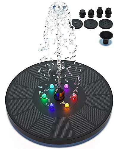 Solar Springbrunnen, 3w Solar Teichpumpe mit 900mAh Akku Solarbrunnen für Außen mit 7 Düse, Solar Schwimmender Fontäne Pumpe für Vogelbad, Fisch-Behälter, Teich