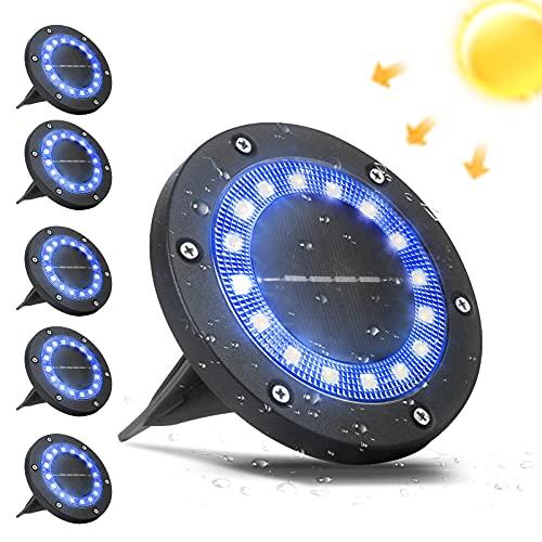 VANPEIN 6stk Solar Bodenleuchten Aussen, 16 LEDs Solar Gartenleuchten IP65 Wasserdicht Solarlampen Solarbodenleuchten für Außen, Blau Bodenstrahler Beleuchtung Garten, Terrasse, Rasen, Innenhof