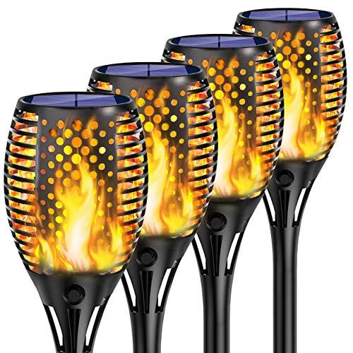 Shinmax Solarleuchte Garten Fackeln,33 LED Solar Fackel mit IP65 Wasserdicht Solar Flammen Solar Garten Beleuchtung Garten Licht Automatische EIN/Aus Weihnachten Deko Straßenlaterne 4 Pack