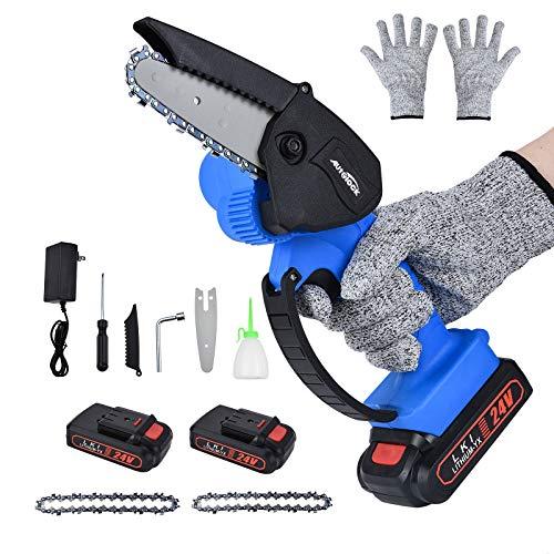Xdovet 24 V Mini Kettensäge, Elektro Akku Handkettensäge Mit Ladegerät Und 2 Batterien ,Einstellbarer Schnittgeschwindigkeit, Für Holz- Und Metallschneiden (Blau)
