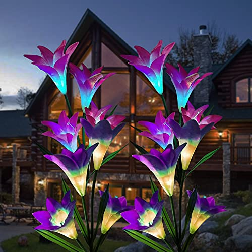 ZHENGYI Solar lampen Solar Fackel Garten Solar lampen mit wasserdicht IP65 Gartenleuchten 4 Stück Solarleuchte Automatische EIN/Aus Farbwechsel LED Lampen Weihnachtsdeko Blumen