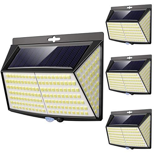 Solarlampen für außen mit bewegungsmelder, [4 Stück] 228 LED 3 Modi 270° solar bewegungsmelder aussen solar aussenleuchte mit bewegungsmelder solar solarleuchte mit bewegungsmelder Wandleuchte Garten