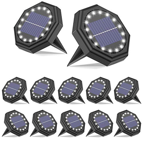 Solar Bodenleuchten Aussen【IP68 Wasserdichtes 16LED 12 Stück Batterie-Upgrade】SEZAC Solarleuchten für...
