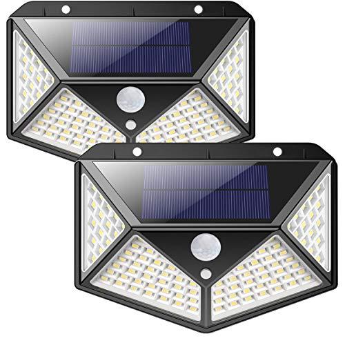 Solarlampen für Außen,【270 ° Vierseitige Beleuchtung- 2200mAh】iPosible 100 LED Solarleuchte mit...
