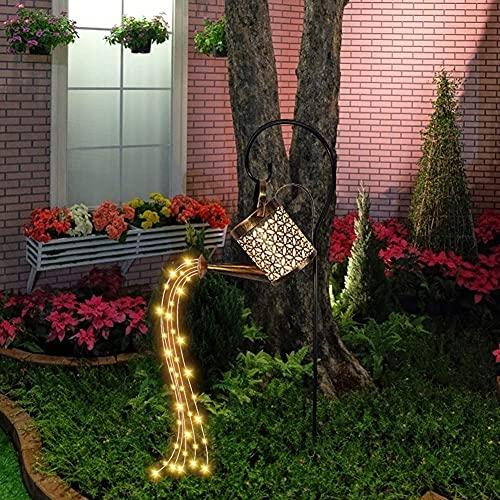 Gießkanne Lichterkette, Aimiyaelec Solar Wasserhahn Blumentopf Lampe Wasserfall Blumentopf Lampe Wasserhahn Märchenlampe im Freien led licht outdoor dekoration (Hohler Stil mit Halterung)