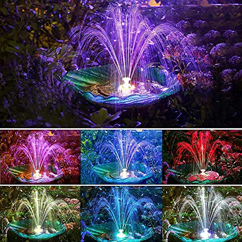 Zuoox Solar Springbrunnen, Solar Springbrunnenpumpe 3,5 W Solarbetriebene Springbrunnenpumpe mit LED-Leuchten
