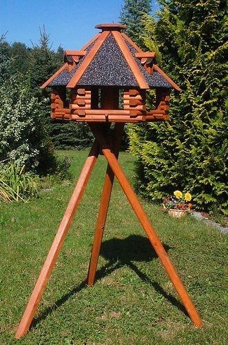Deko-Shop-Hannusch XXL Luxus Vogelhaus, Blickfang, Vogelfutterhaus aus Holz, 70x45 cm, V13s XXL mit Ständer