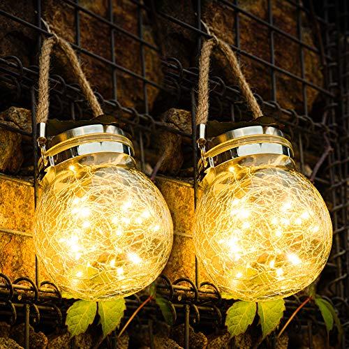 [2 Stück]Solarlampen für Garten, 30 LEDs Solarlaterne für Außen, Solar Hängeleuchte, Solarleucht für Außen Garten Deko, Solar Garten Hängeleuchten für Außen, Party, Wand, Tisch, Hochzeit Warmweiß