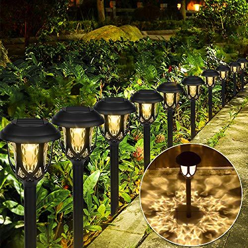 Vivibel [10 Stück Solarleuchten Garten, Solar Gartenleuchte Außenleuchte wasserdichte LED Solar Licht warmweiße Dekoration Licht Solarlampe für Außen Wegbeleuchtung für Außen Villa Rasen