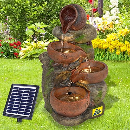 Solar Gartenbrunnen Brunnen Solarbrunnen Zierbrunnen Wasserfall Gartenleuchte 4-TONKRÜGE IM BAUMFELS Teichpumpe für Terrasse