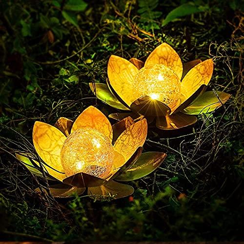 Sugoiii Gartenbeleuchtung - Dekoratives Solar Lotusblüten 2er - Angenehm Warmweißes Licht - Traumhafte Lichteffekte Durch Bruchglasoptik - Solarlampe Gartenbeleuchtung Lotusblume (Color : 2 Stücke)