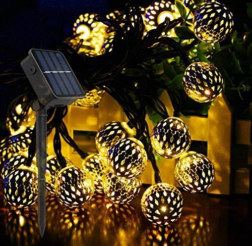 Warmes Licht Solar marokkanische Schmiedeeisen hohle kleine Kugel im Freien wasserdichte LED-Lichterketten Weihnachten Tag Gartendekoration Lichter 60LED