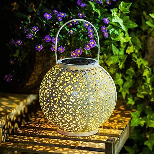 YWJPJ. Hängende Solarleuchten Eisen Aushöhlen Outdoor Solar Laterne Vintage Garten Landschaftslampe Tischdekorationen mit Griff für Tür Hinterhof Baum (weiß)