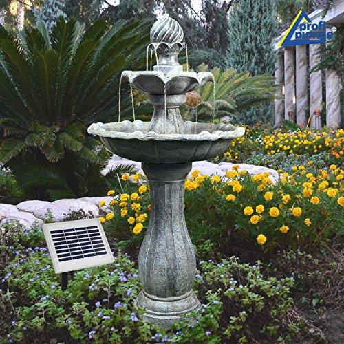 AMUR Solar Gartenbrunnen Brunnen Solarbrunnen Zierbrunnen Wasserfall Gartenleuchte Teichpumpe für Terrasse,...