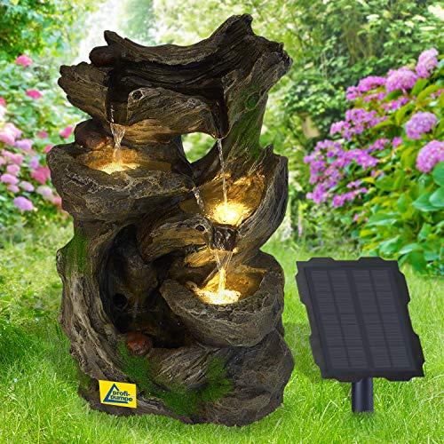Solar Gartenbrunnen Brunnen Solarbrunnen MÄRCHENWALD mit LED-Licht, Zierbrunnen Wasserfall lichtgrau Gartenleuchte Teichpumpe für Terrasse, Balkon, mit Pumpen-instant-Start-Funktion mit Liion-Akku