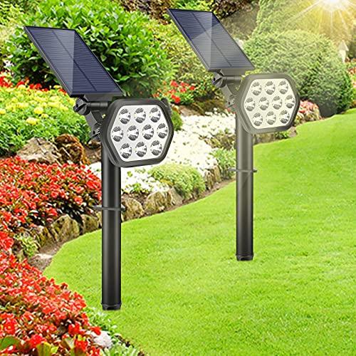[Neueste] Solarleuchte Garten GolWof 2 Stück LED Solar Gartenstrahler Solarstrahler Gärten Wasserdicht IP68 Solarlampe mit 2 Helligkeit, Einstellbarer Lampenkopf Energie Sparen für Hof Garage